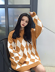 Sign new pullover jacket Korean loose big yards long section of diamond pattern sweater tide