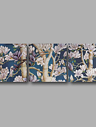 Stretched Canvas Print Three Panels Canvas Wall Decor Home Decoration Abstract Modern Blue Almond Blossom