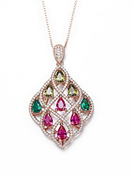 Pendant Necklaces Crystal Square Rose Gold Zircon Cubic Zirconia Basic Dangling Style European Jewelry For Daily Casual