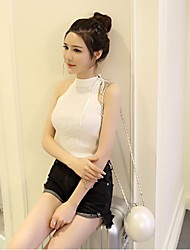 Sign Korean woman sexy solid color lace sleeveless halter digging back vest sweater temperament