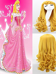Movie Sleeping Beauty Princess Aurora Long Curly Golden Anime Cosplay Costume Wig High Quality Wave Party Wigs Hair