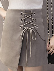 unterzeichnen Dongkuan neuen unregelmäßigen dünnen Abschnitt Spitze Taille Röcke feste Farbe ein Wort Rock Rock