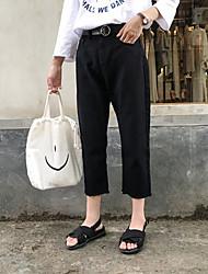 знак корея покупке новых девять 2017 маленькие черные и белые широкие брюки ноги свободные джинсы женская флеш