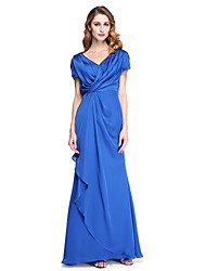 2017 Lanting Bride® Sheath / Column Mother of the Bride Dress - Elegant Floor-length Short Sleeve Satin Chiffon with Criss Cross Pleats