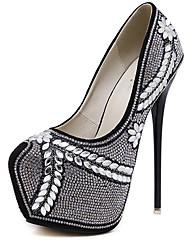 Damen-High Heels-Kleid-Vlies-Stöckelabsatz-Andere-Schwarz Mandelfarben
