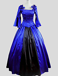 One-Piece/Dress Gothic Lolita Victorian Cosplay Lolita Dress Solid Poet 3/4-Length Sleeve Long Length Tuxedo For Charmeuse