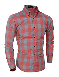 Men's Casual/Daily Simple Spring Fall Shirt,Plaid Classic Collar Long Sleeves Cotton Medium