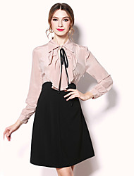 egeer Going out Cute A Line DressSolid Beaded Cut Out Bow Ruffle Shirt Collar Above Knee Long Sleeve Silk Polyester Pink Black Spring Summer