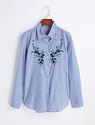 Women's Embroidery Casual/Daily Work Simple Spring Summer Shirt,Embroidered Turtleneck Long Sleeve Cotton