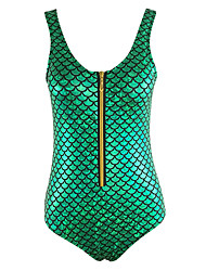 Women's Mermaid Zipper Backless Halter One-pieceColor Block