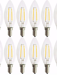 12 pack 2w e14 led bombillas de filamento c35 2 cob 180 lm cálido blanco decorativo ac 220-240 v