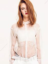 M Going out Cute Spring Summer ShirtPrint Shirt Collar Long Sleeve White Nylon