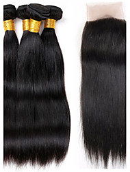 Vinsteen 4 Pieces Straight with Lace Closure Natural Color Human Hair Weaves Brazilian Texture Unprocessed Human Hair Extensions Thick Ends