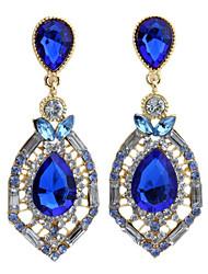 Drop Earrings AAA Cubic Zirconia Gemstone Alloy Fashion Drop Fuchsia Green Blue Jewelry Daily 1 pair