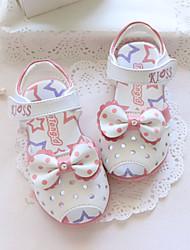Baby Flache Schuhe Lauflern Andere Tierhaut Sommer Normal Walking Lauflern Klettverschluss Niedriger Absatz Weiß Rosa Flach