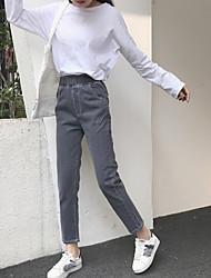 Sign 2017 spring new Korean elastic waist baggy jeans female