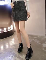 Sign 2016 new winter fashion ring zipper tweed skirts A word skirt skirts spot