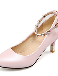 Women's Heels Spring Summer Fall Winter Club Shoes PU Office & Career Party & Evening Dress Low Heel Pearl Blue Pink White