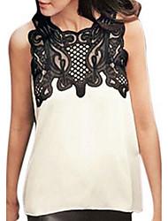 Damen Solide Einfach Ausgehen T-shirt,Rundhalsausschnitt Sommer Ärmellos Baumwolle Mittel