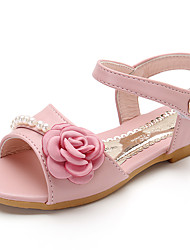 Girl's Sandals Spring Summer Fall Comfort Rubber Outdoor Athletic Casual Low Heel Imitation Pearl Flower Blue Pink Light Pink Walking