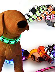 Коты Собаки Ошейники Светоотражающий Светодиодные фонарики Регулируется/Выдвижной Строб БезопасностьВ клетку геометрический