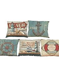 5 PC Lino Natural/Orgánico Cobertor de Cojín Funda de almohada,Floral Sólido Con Texturas A cuadrosCasual Retro Tradicional/Clásico