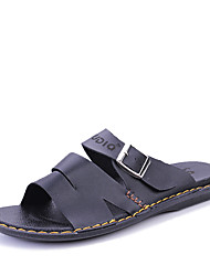 Men's Slippers & Flip-Flops Spring Summer Comfort PU Casual Flat Heel Black