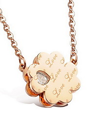 Women's Pendant Necklaces Titanium Steel Simulated Diamond Heart Flower Basic Flower Style Fashion Gold Black Jewelry Daily Casual 1pc