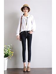 Spring black jeans female flanging nine points was thin super elastic waist pants curling pants Korea 2017