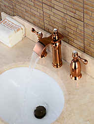 Contemporary Widespread Waterfall with  Brass Valve Three Handles Three Holes for  Rose Gold , Bathroom Sink Faucet