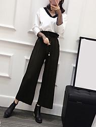 signe place modèles printemps chemise de gaze de couture sauvage + pantalon large jambe costume deux pièces