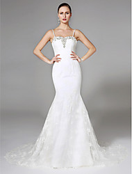 Mermaid / Trumpet Spaghetti Straps Court Train Lace Wedding Dress with Beading by LAN TING BRIDE®