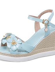 Damen-Sandalen-Outddor Kleid Lässig-Kunstleder-Keilabsatz-Komfort Club-Schuhe-Weiß Blau Rosa
