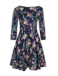 Gaine Robe Femme Soirée / Cocktail Grandes Tailles Vintage,Fleur Bateau Mi-long Manches ¾ Bleu Polyester Spandex Eté Taille Haute