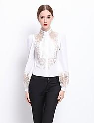 Dámské Výšivka Jdeme ven Společenské Práce Sexy Sofistikované Košile-Jaro Polyester Rolák Dlouhý rukáv Bílá Černá Střední
