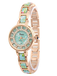 Women's Fashion Watch Simulated Diamond Watch Imitation Diamond Quartz Alloy Band Flower Gold