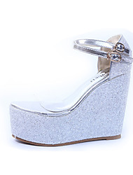 Women's Sandals Spring Summer Fall Comfort Silica Gel Party & Evening Dress Wedge Heel Gold Sliver