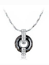 Pendentif de collier Cristal Forme Ronde Argent sterling Basique Pendant Noir Bijoux Pour Quotidien Décontracté 1pc