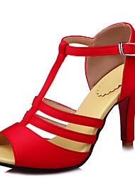 Sandalen-Büro Kleid Lässig-Kunstleder-Stöckelabsatz-Komfort-Schwarz Gelb Rot Weiß
