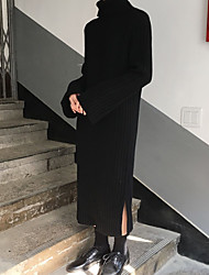 Famous chic dress slit high-necked long paragraph wool knit knee high thick collar loose sleeve