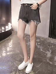 Women's Plus Size Slim Jeans Shorts Pants Casual/Daily Street chic Solid Tassel Mid Rise Zipper Button Cotton Inelastic Summer