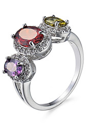 New Fashion Hot-Selling Color Jewelry Fashion Simple Single Alloy Zicron Wedding Ring Gift Design For Women