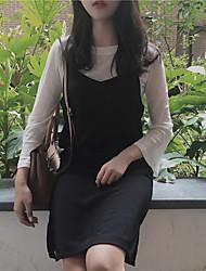 sinal de Outono nova versão coreana do vestido aproveitar luva branca chifre de duas peças