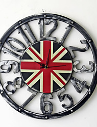 Traditional Country Antique Retro Holiday Music Family British Flag Wall ClockNovelty Wood Plastic 40*40 Indoor/Outdoor Indoor Clock