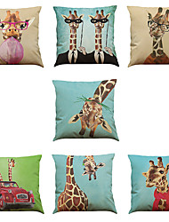 Set of 7 giraffe pattern Linen  Cushion Cover Home Office Sofa Square  Pillow Case Decorative Cushion Covers Pillowcases