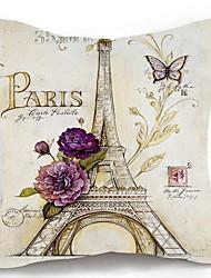 1 pcs Coton/Lin Taie d'oreiller Couvertures,Tour Eiffel Villes Rustique Traditionnel/Classique