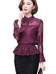 Women's Lace Casual/Daily Simple All Seasons Shirt,Plaid V Neck Long Sleeve Red Cotton/Polyester Thin