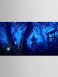 E-HOME Stretched LED Canvas Print Art The Mysterious Forest Cabin LED Flashing Optical Fiber Print One Pcs