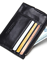 Unisex Genuine Leather Thin Zipper Coin Wallet Card Holder Pocket Wallet Sports Casual Outdoor Office & Career Shopping Card & ID Holde Cowhide
