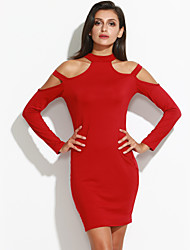 Women's Cut Out Formal / Party Sexy Bodycon Dress,Solid V Neck Mini Long Sleeve Red / Black Cotton / Spandex Spring / Fall Mid Rise
